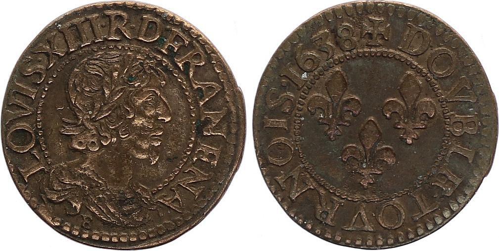 France Double Tournois Louis XIII - 1638 B Rouen