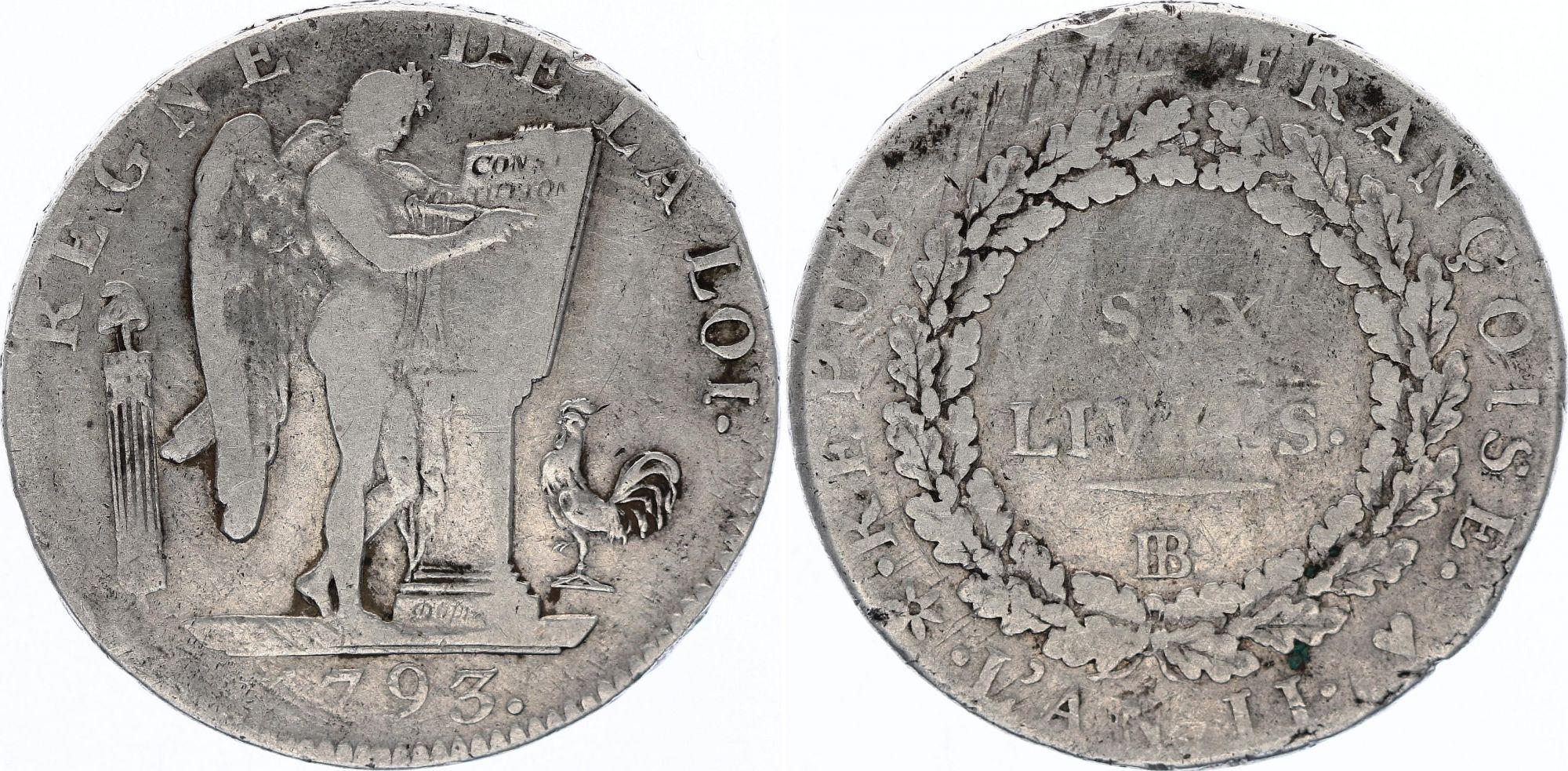 France Ecu de 6 Livres - Convention -  1793 BB