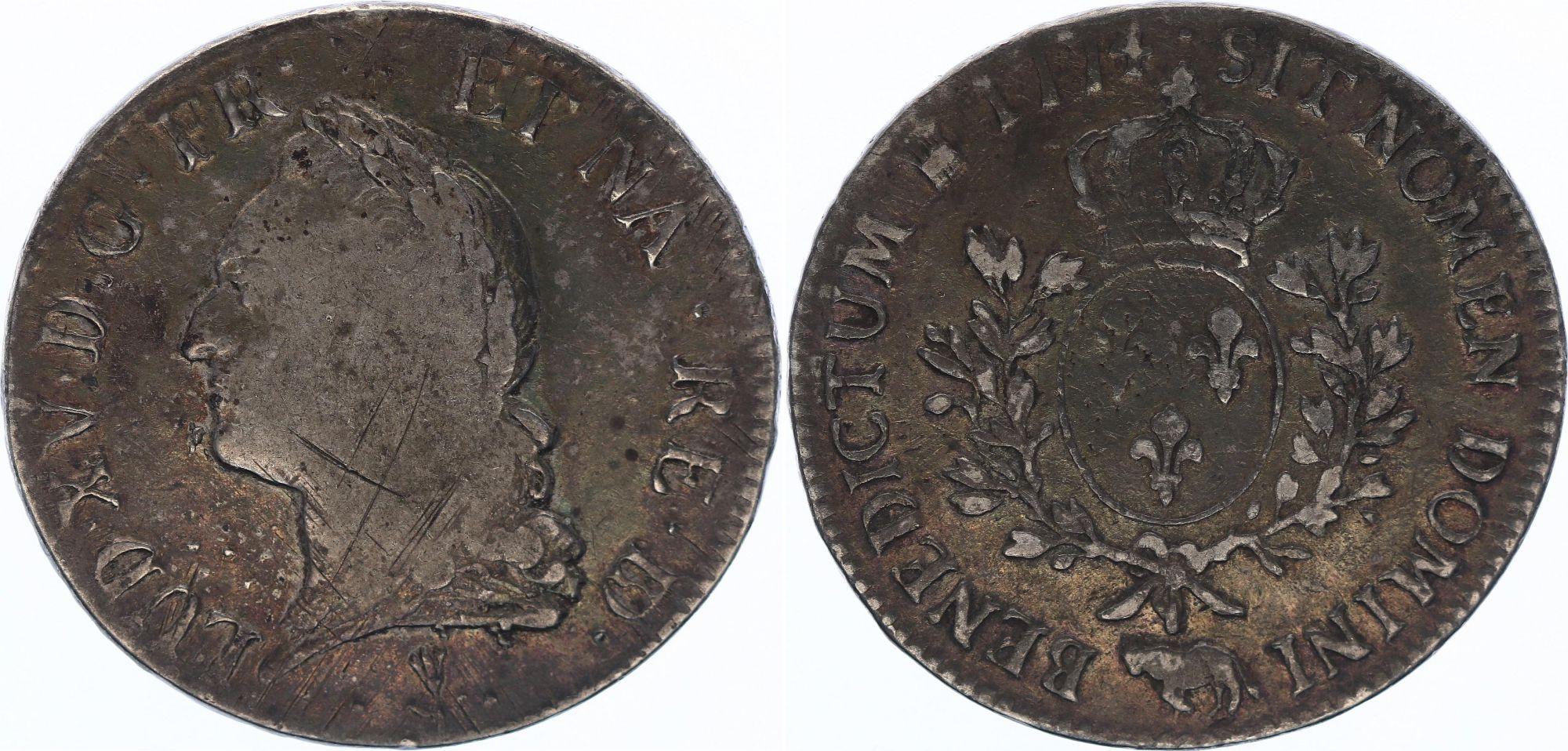 France Ecu du Béarn  Louis XV à la Vieille Tête - 1774 Pau