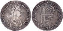 France Ecu Louis XIIII a la mèche longue - 1648 N Montpellier