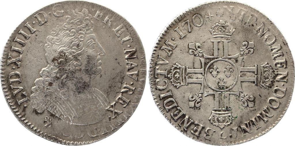 France Ecu Louis XIV aux 8 L - Réformation 1704 9