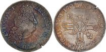 France Ecu Louis XIV with double crowned L in cruciform - 1704 A