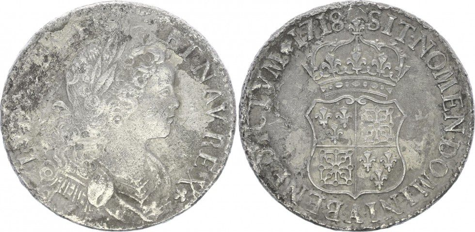 France Ecu Louis XV - Ecu de France-Navarre - 1718 A Paris