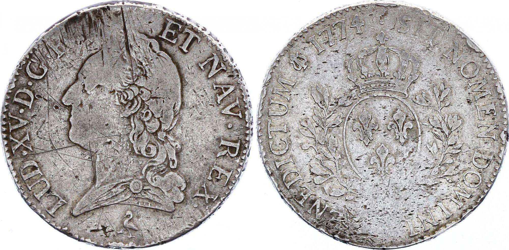 France Ecu Louis XV à la vieille tête  - 1774 A Paris