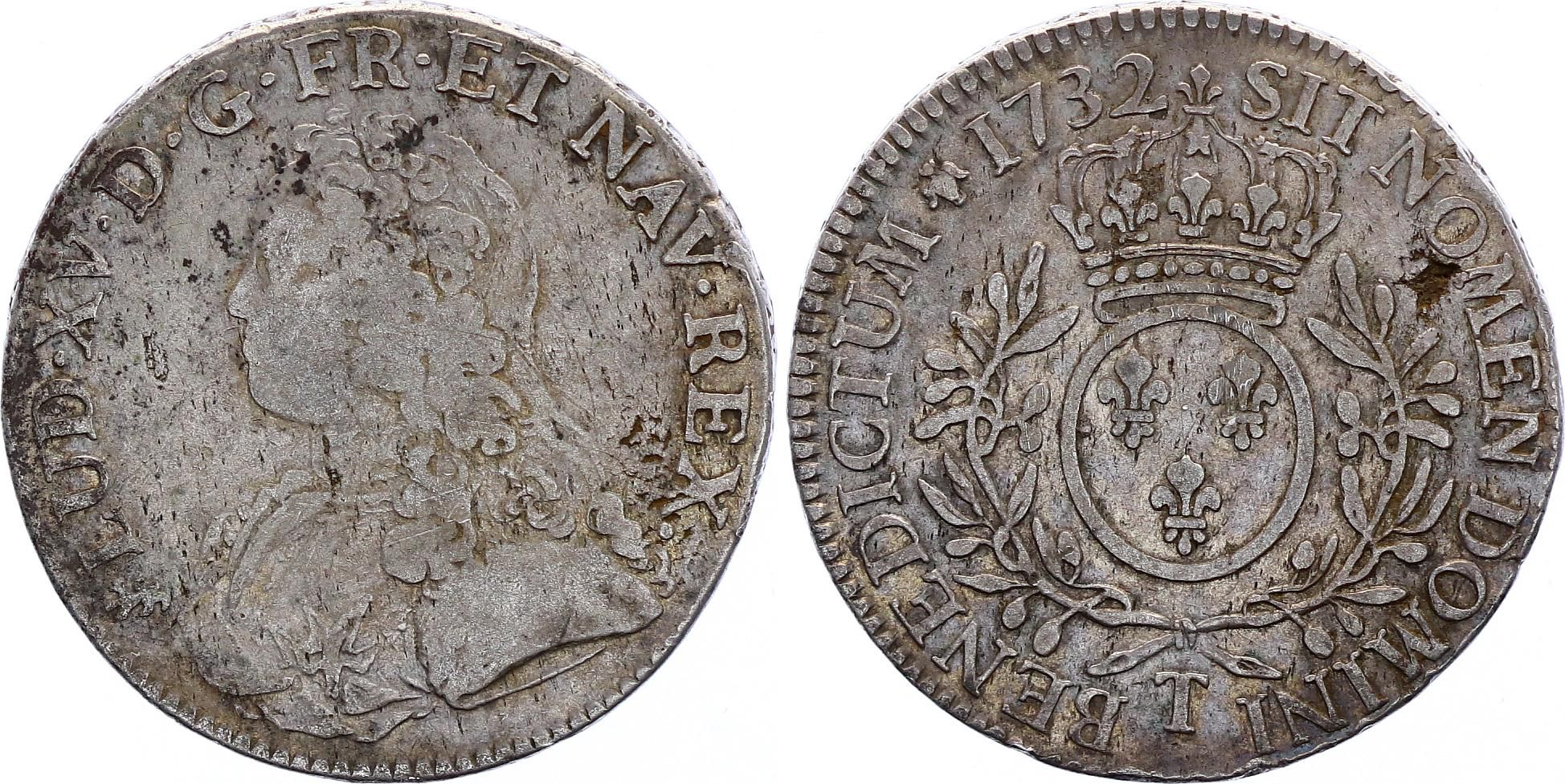 France Ecu Louis XV arms of France with sprays - 1732 T Nantes