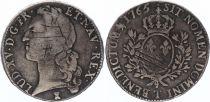 France Ecu Louis XV au bandeau - 1765 T Nantes