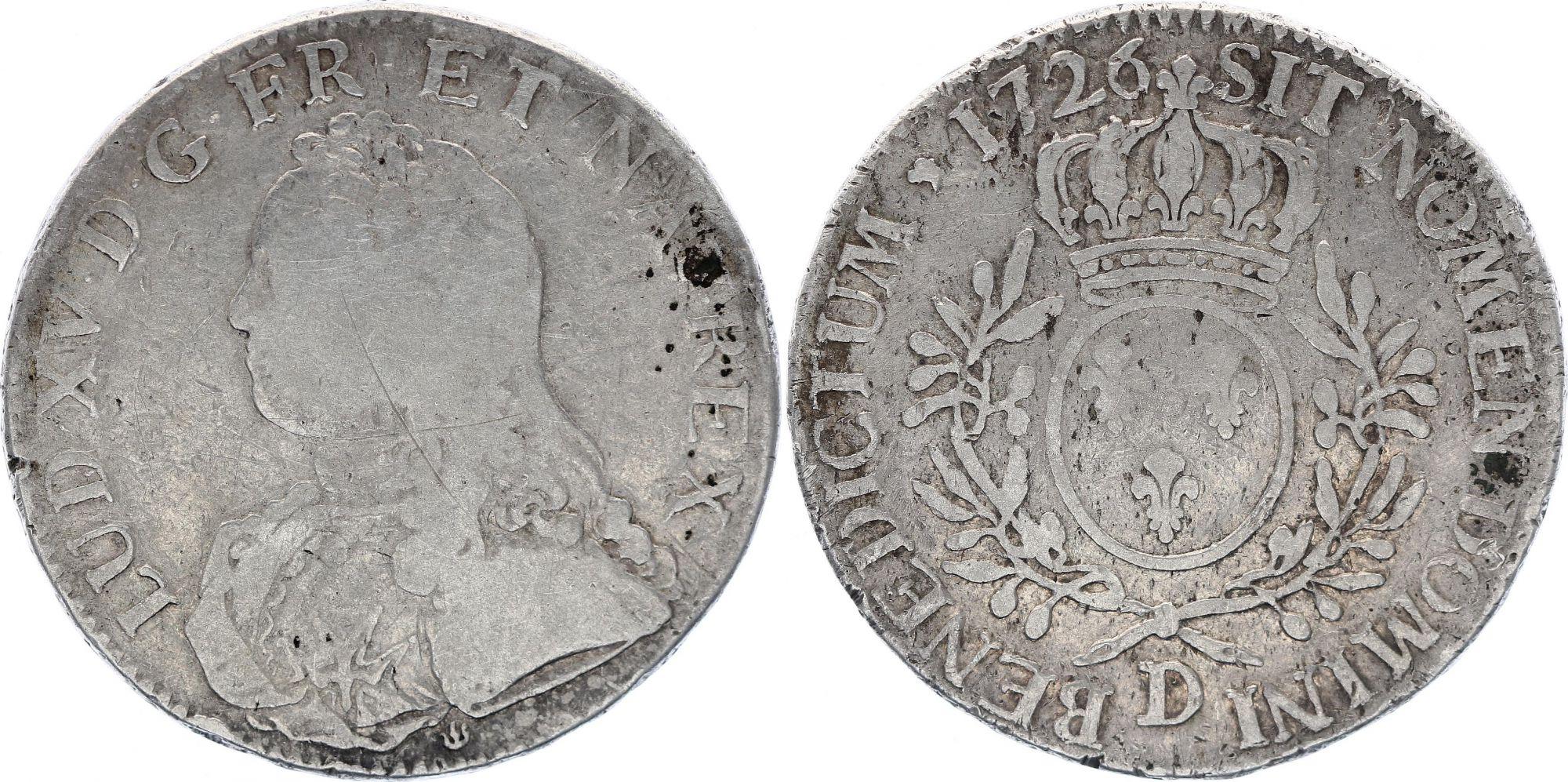 France Ecu Louis XV aux branches d\'olivier - 1726 D
