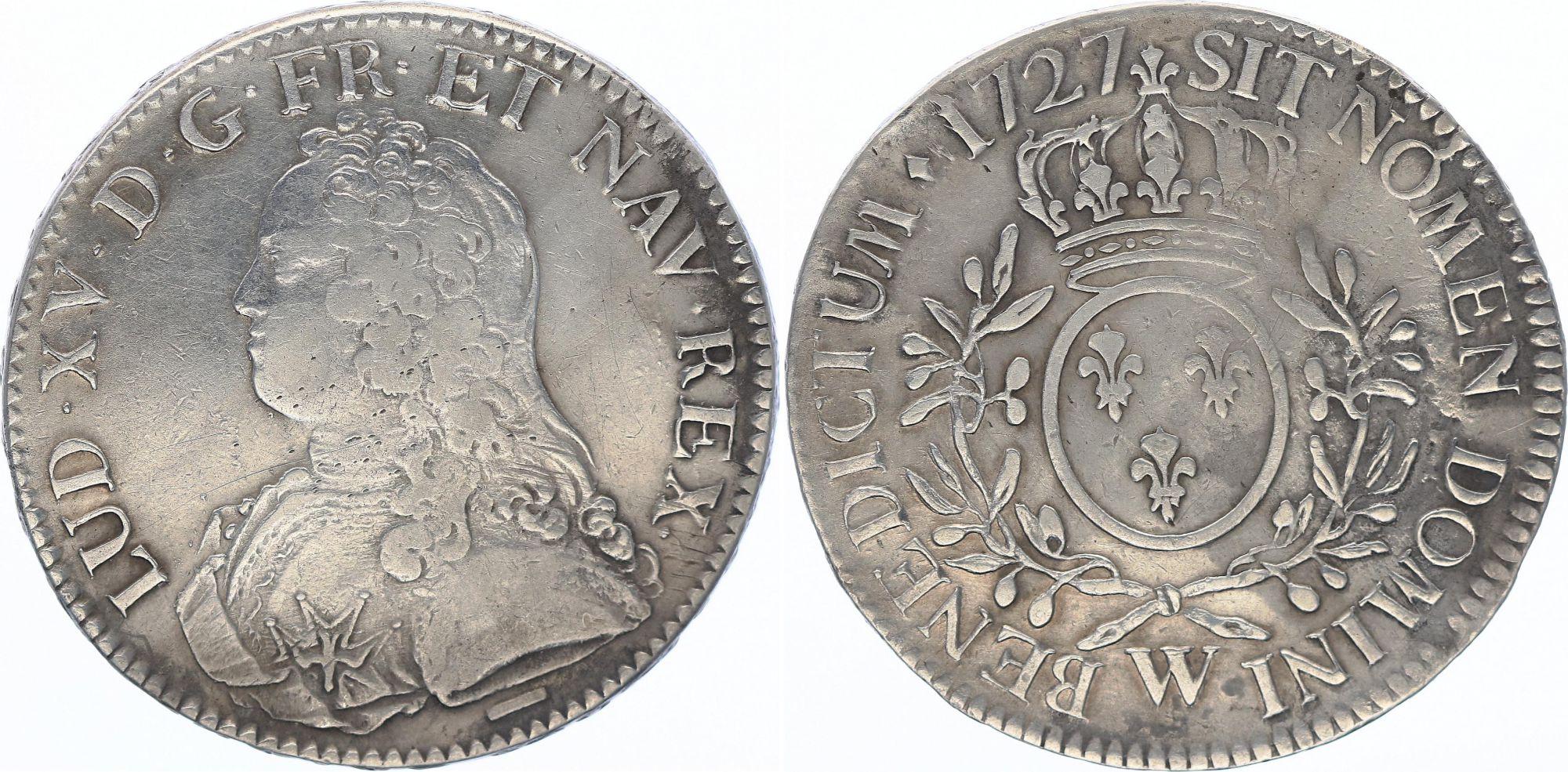 France Ecu Louis XV aux branches d\'olivier - 1727 W
