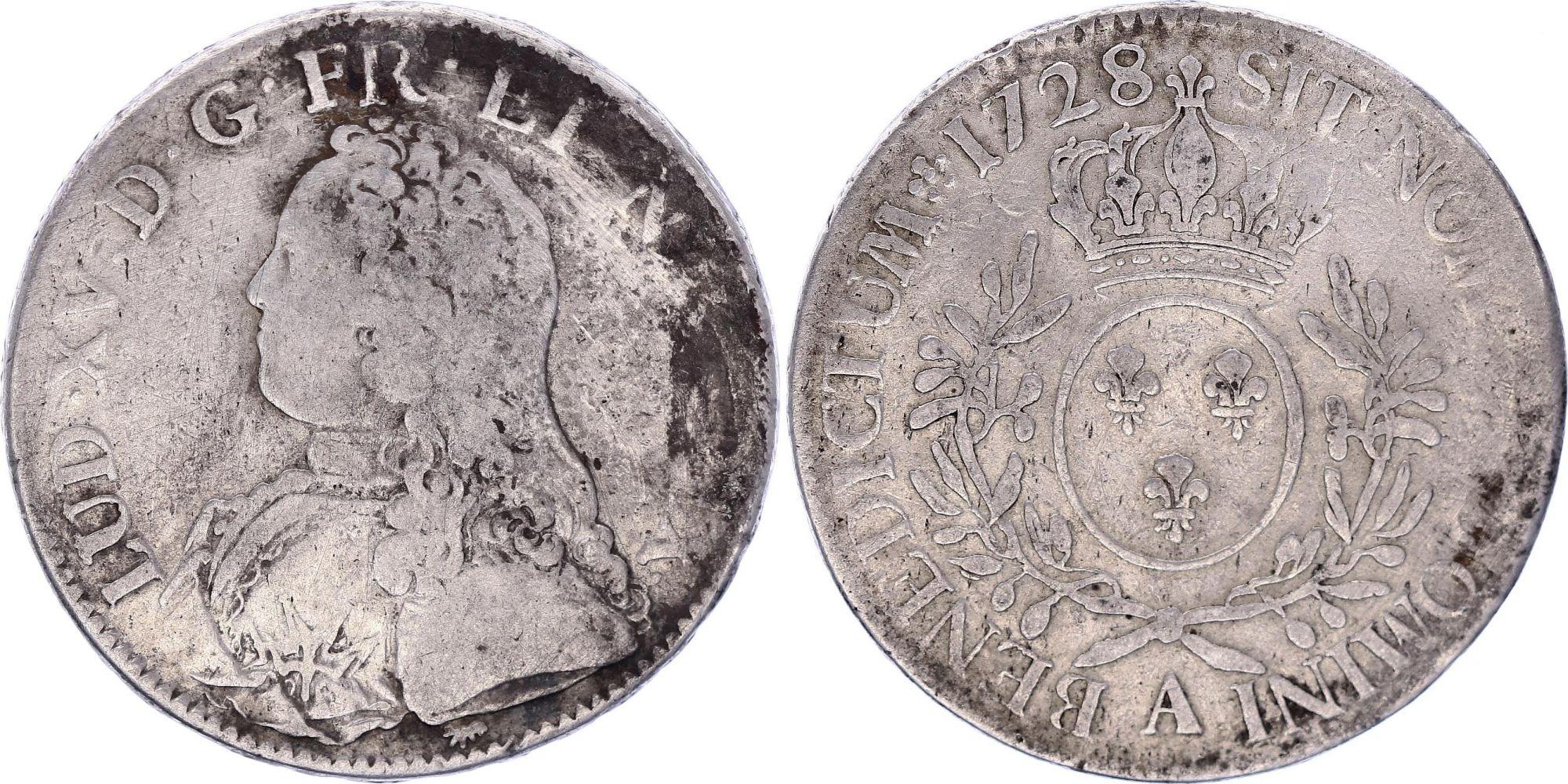 France Ecu Louis XV aux branches d\'olivier - 1728 A Paris