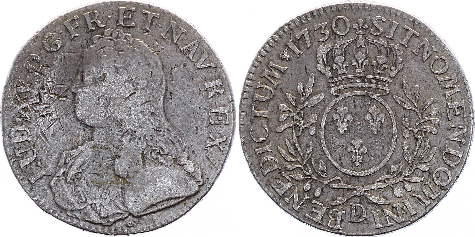France Ecu Louis XV aux branches d\'olivier - 1730 D Lyon