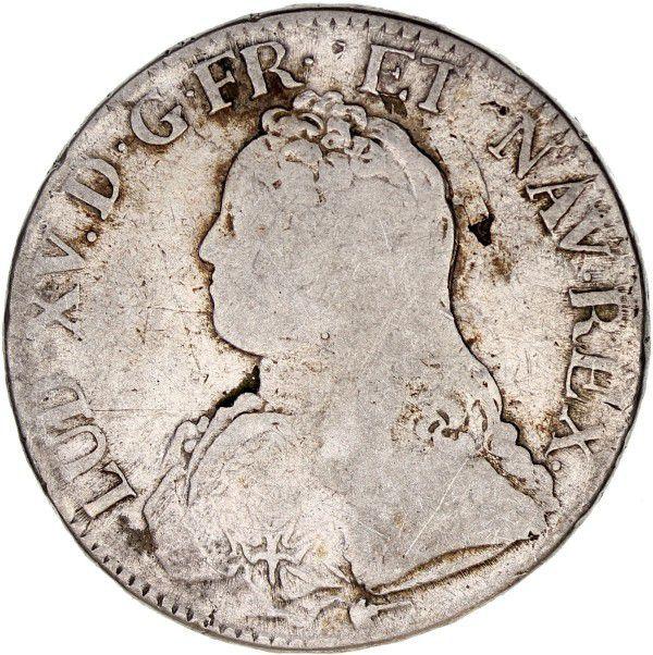 France Ecu Louis XV aux branches d´olivier - 1730 X