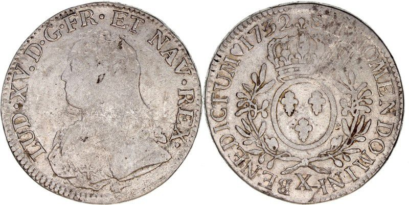 France Ecu Louis XV aux branches d olivier - 1732 X