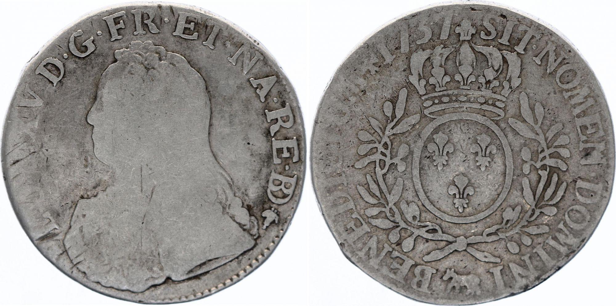 France Ecu Louis XV aux branches d\'olivier - 1737  Pau (R3)