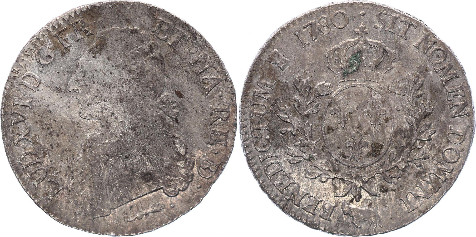 France Ecu Louis XVI aux branches d\'olivier   - 1780 Pau