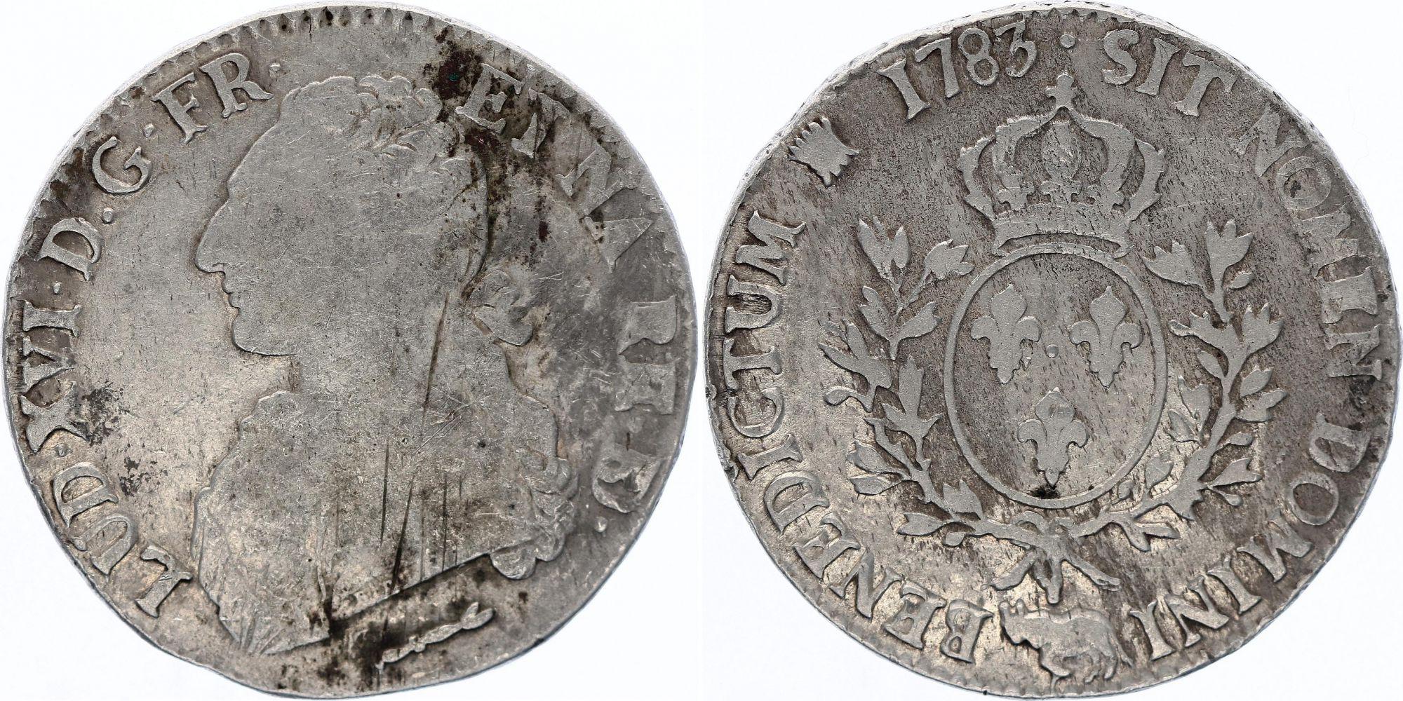 France Ecu Louis XVI aux branches d\'olivier  -  1783 Pau