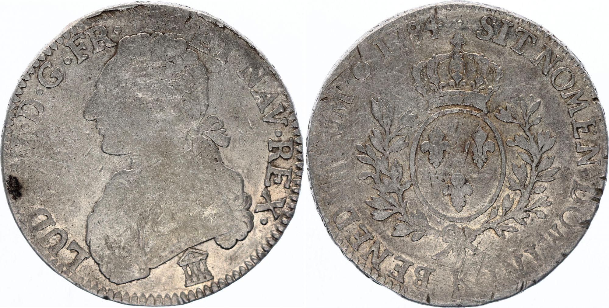 France Ecu Louis XVI aux branches d\'olivier  -  1784 K