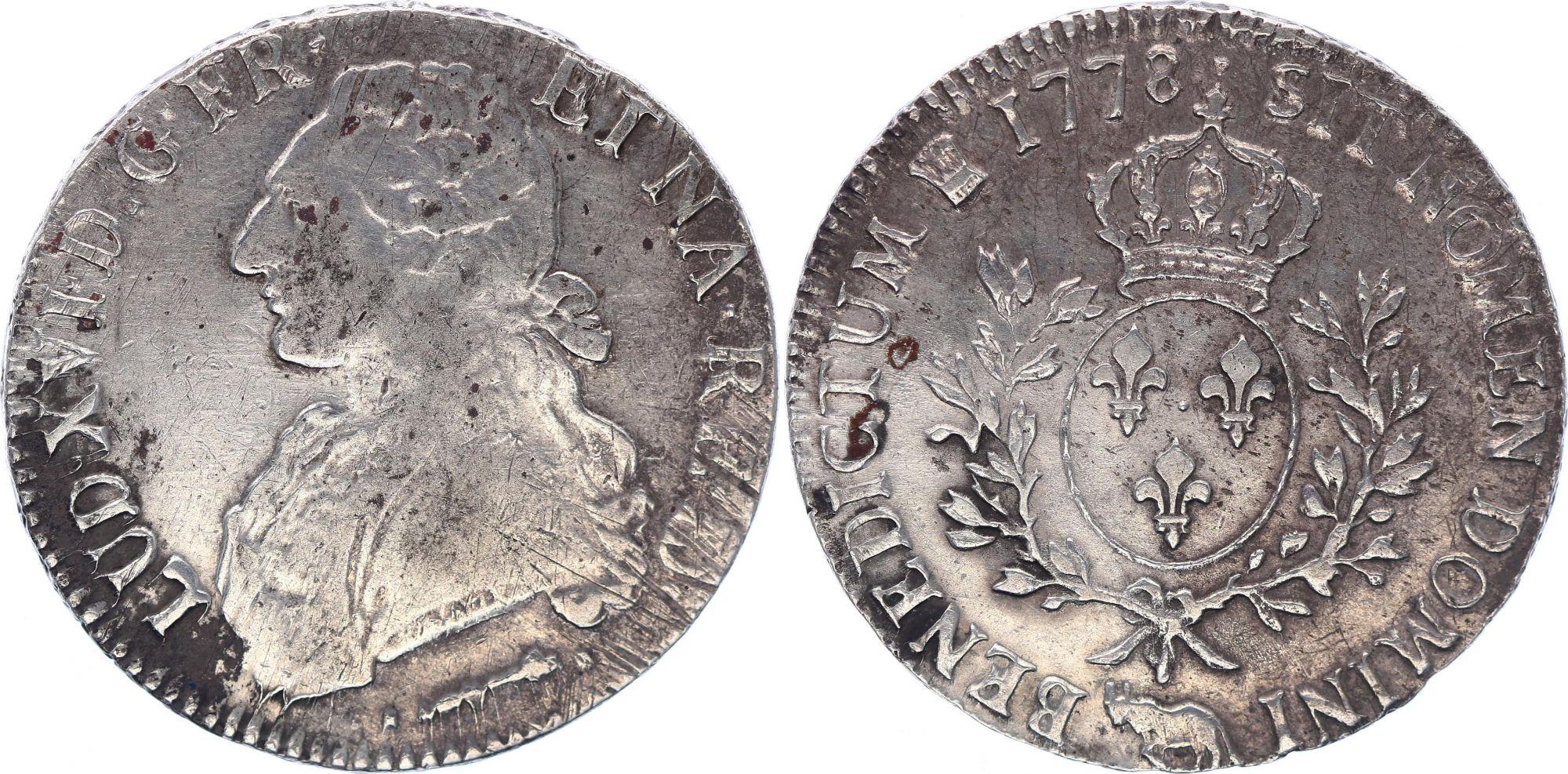 France Ecu Louis XVI aux branches d\'olivier  - 1778  Pau