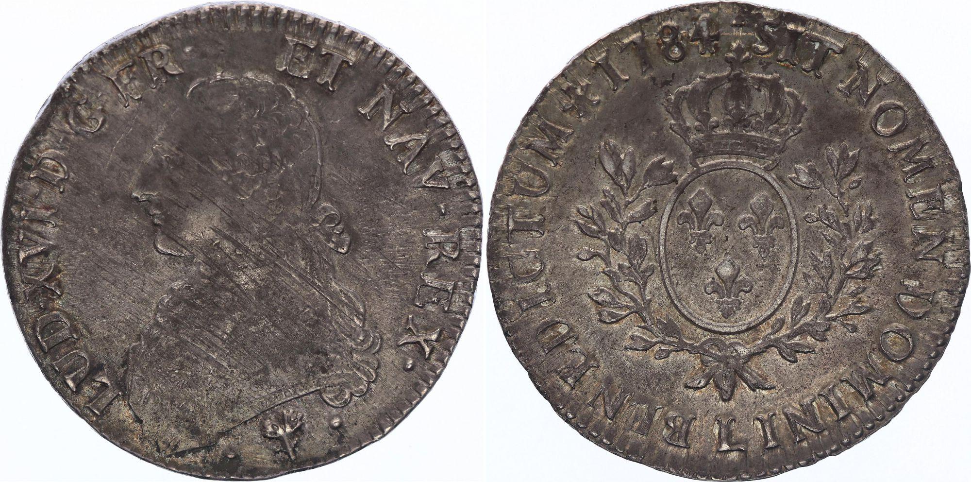 France Ecu Louis XVI aux branches d\'olivier  - 1784 A - Paris