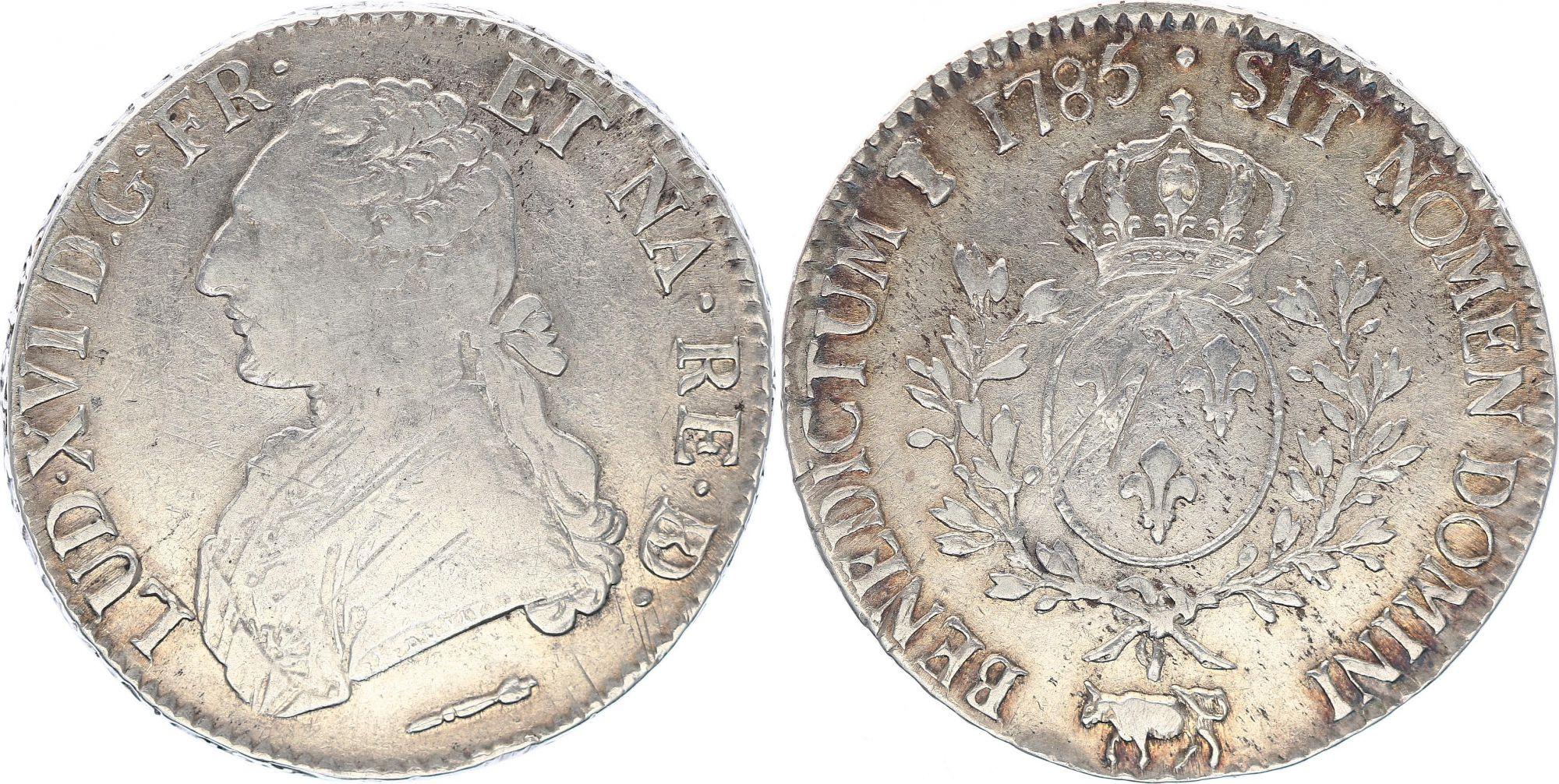 France Ecu Louis XVI aux branches d\'olivier  - 1785  Pau