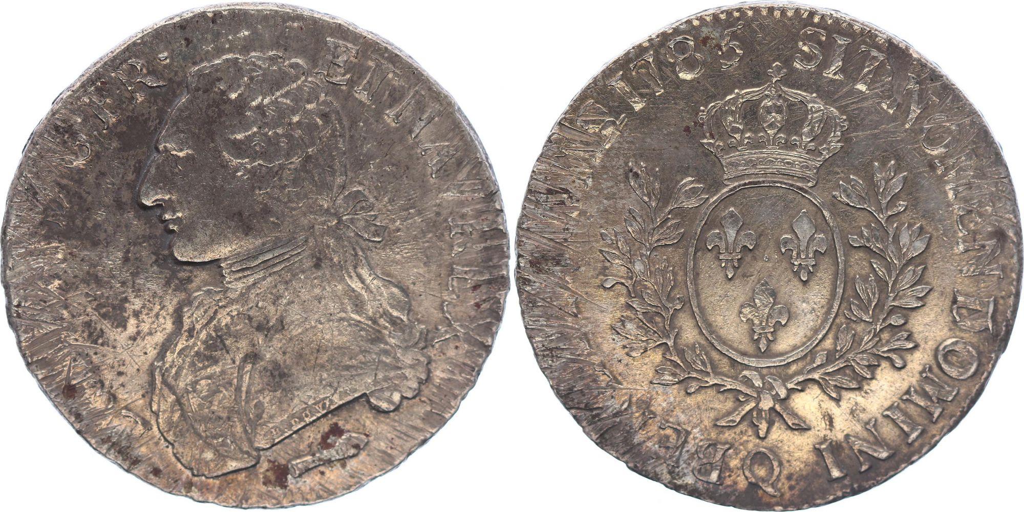 France Ecu Louis XVI aux branches d\'olivier  - 1785Q  Perpignan