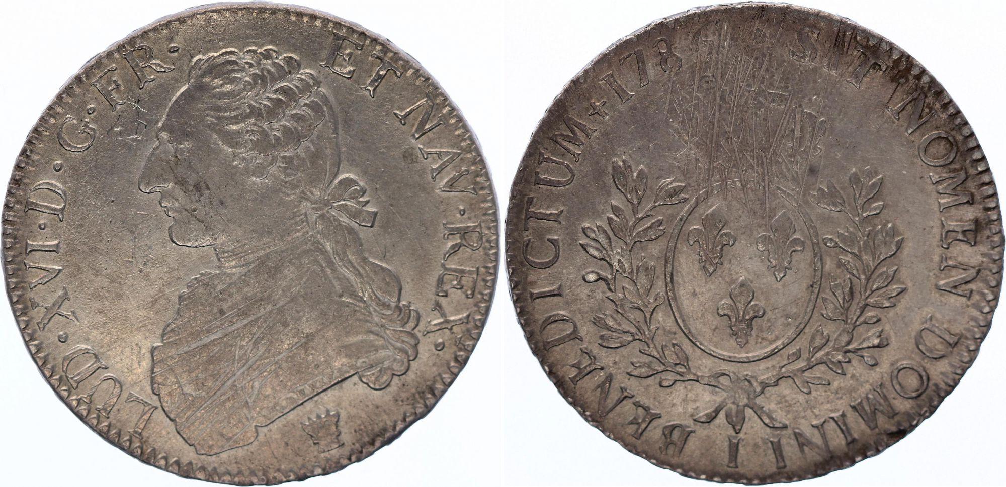 France Ecu Louis XVI aux branches d\'olivier  - 1786 I Limoges