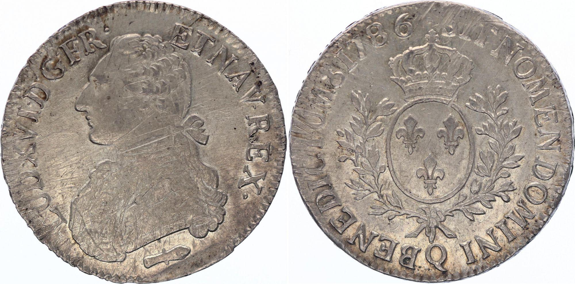 France Ecu Louis XVI aux branches d\'olivier  - 1786 Q Perpignan