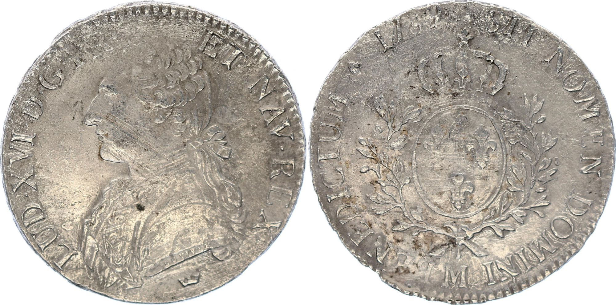 France Ecu Louis XVI aux branches d\'olivier  - 1789 M Toulouse