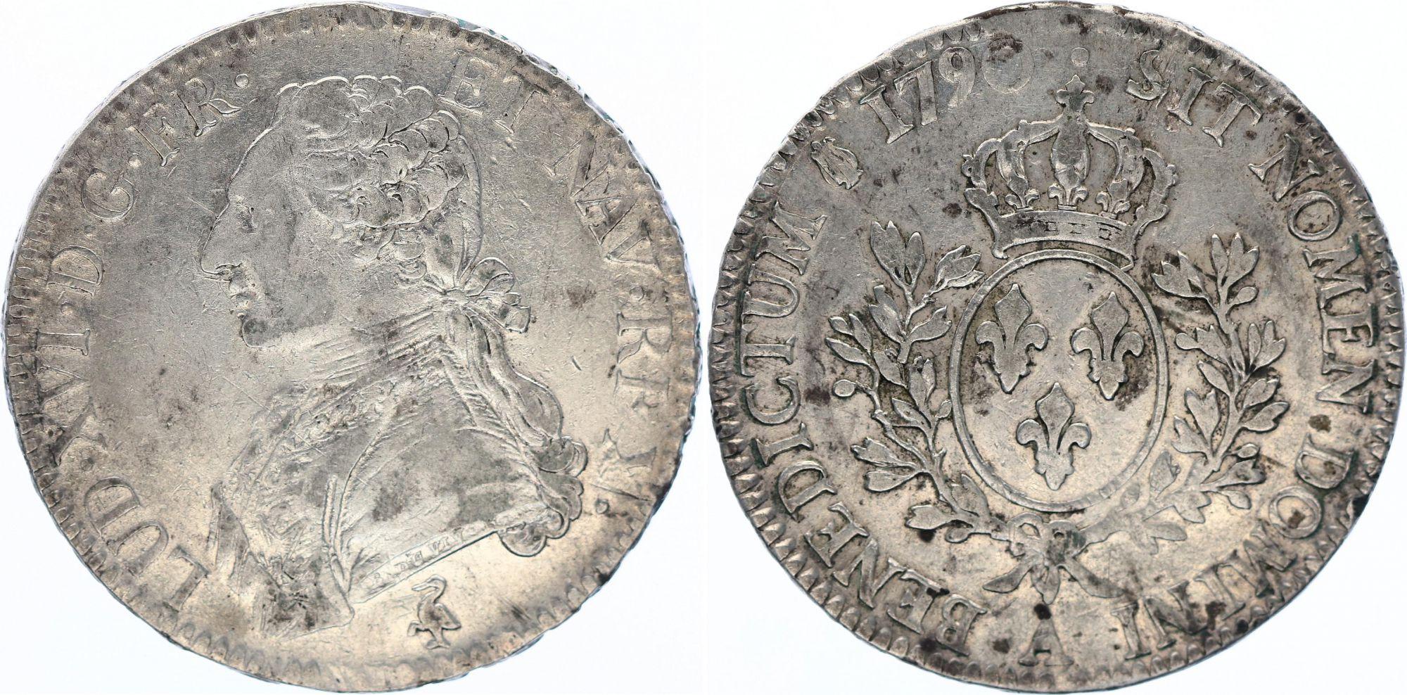 France Ecu Louis XVI aux branches d\'olivier  - 1790 A Paris
