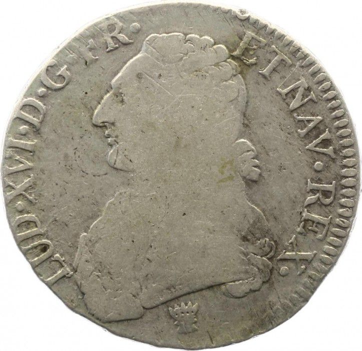France Ecu Louis XVI aux branches d olivier - 1777 I
