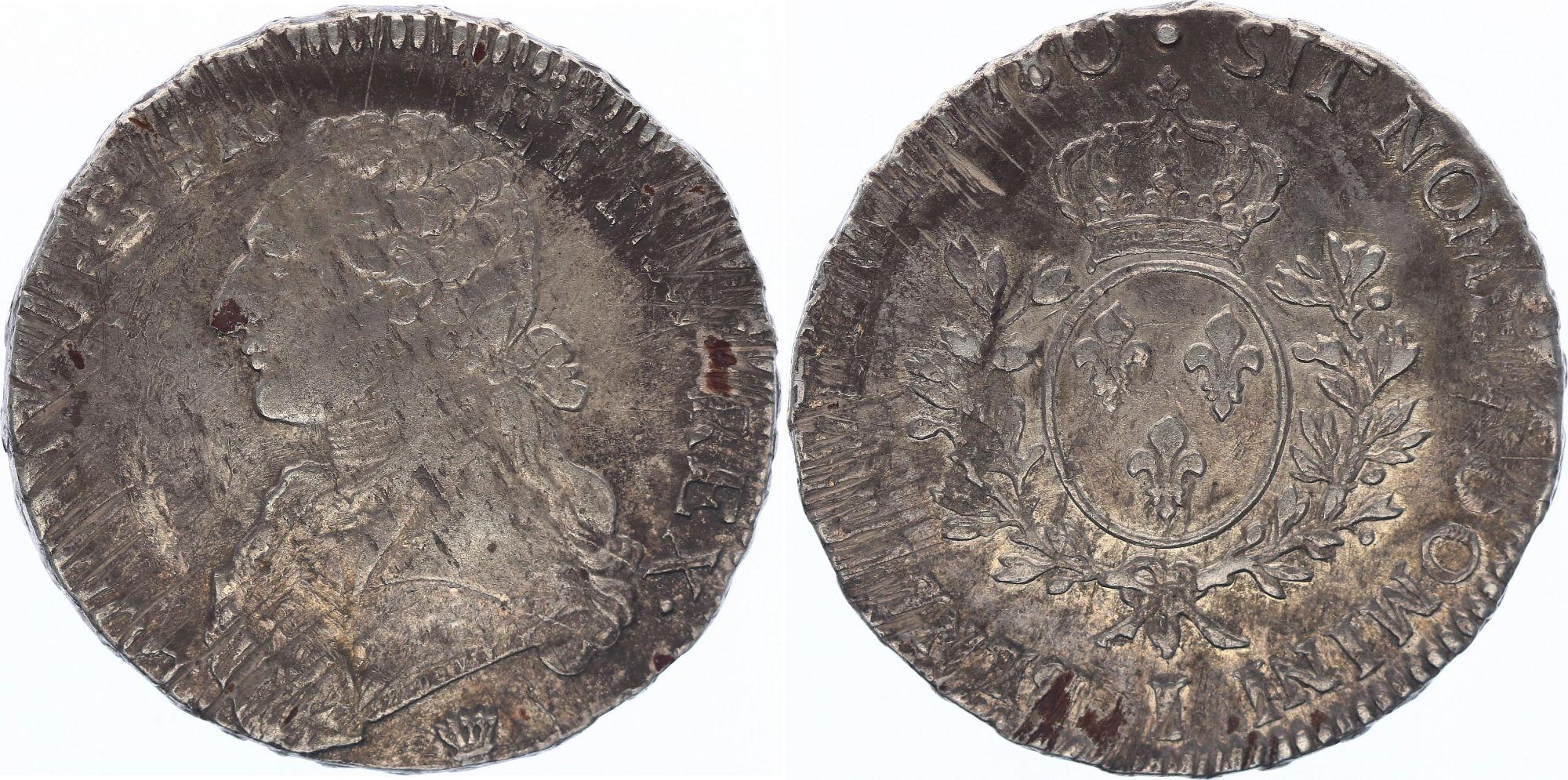 France Ecu Louis XVI aux branches d\'olivier - 1780 I Limoge