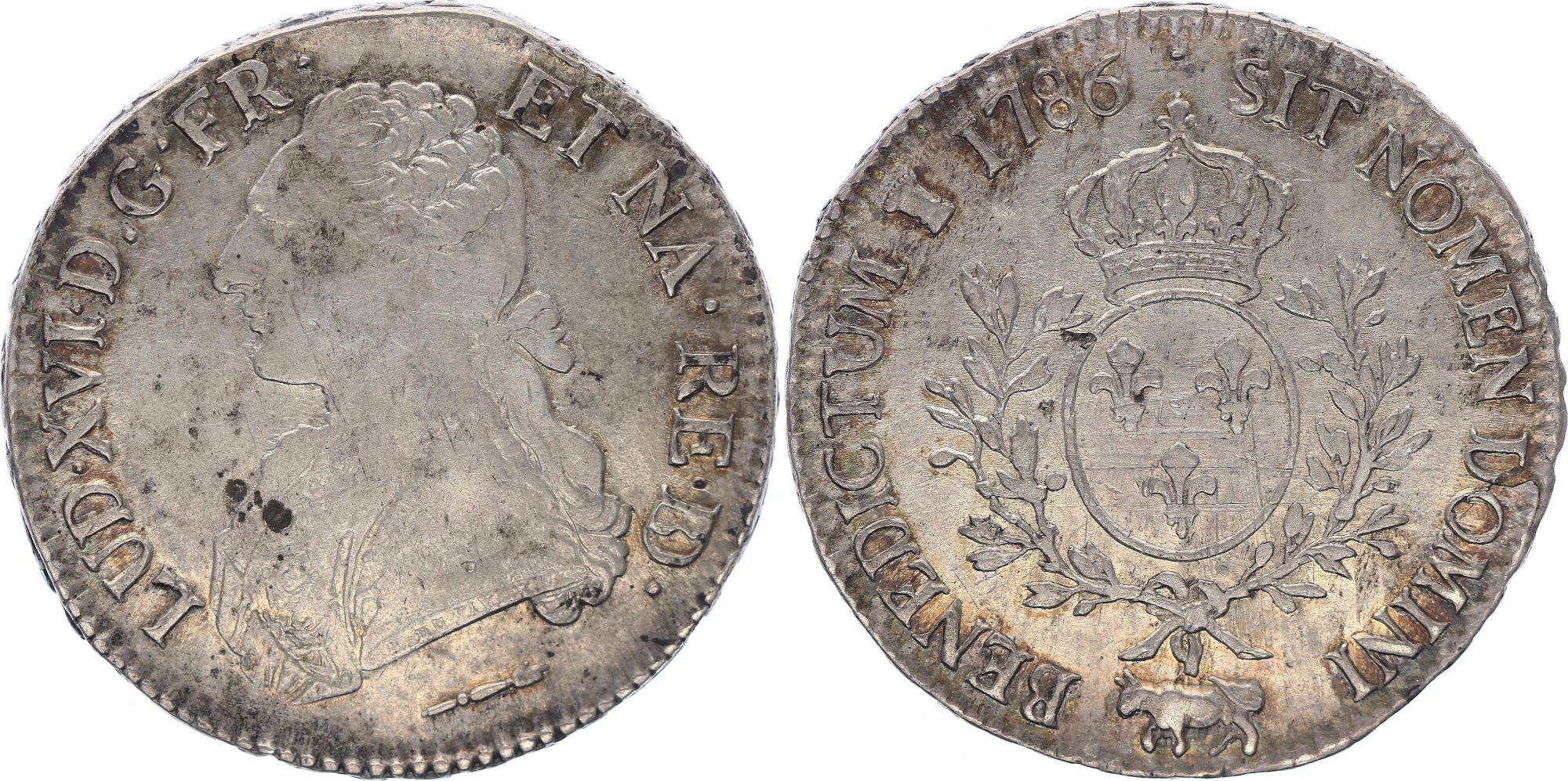 France Ecu Louis XVI aux branches d\'olivier  -1786 Pau