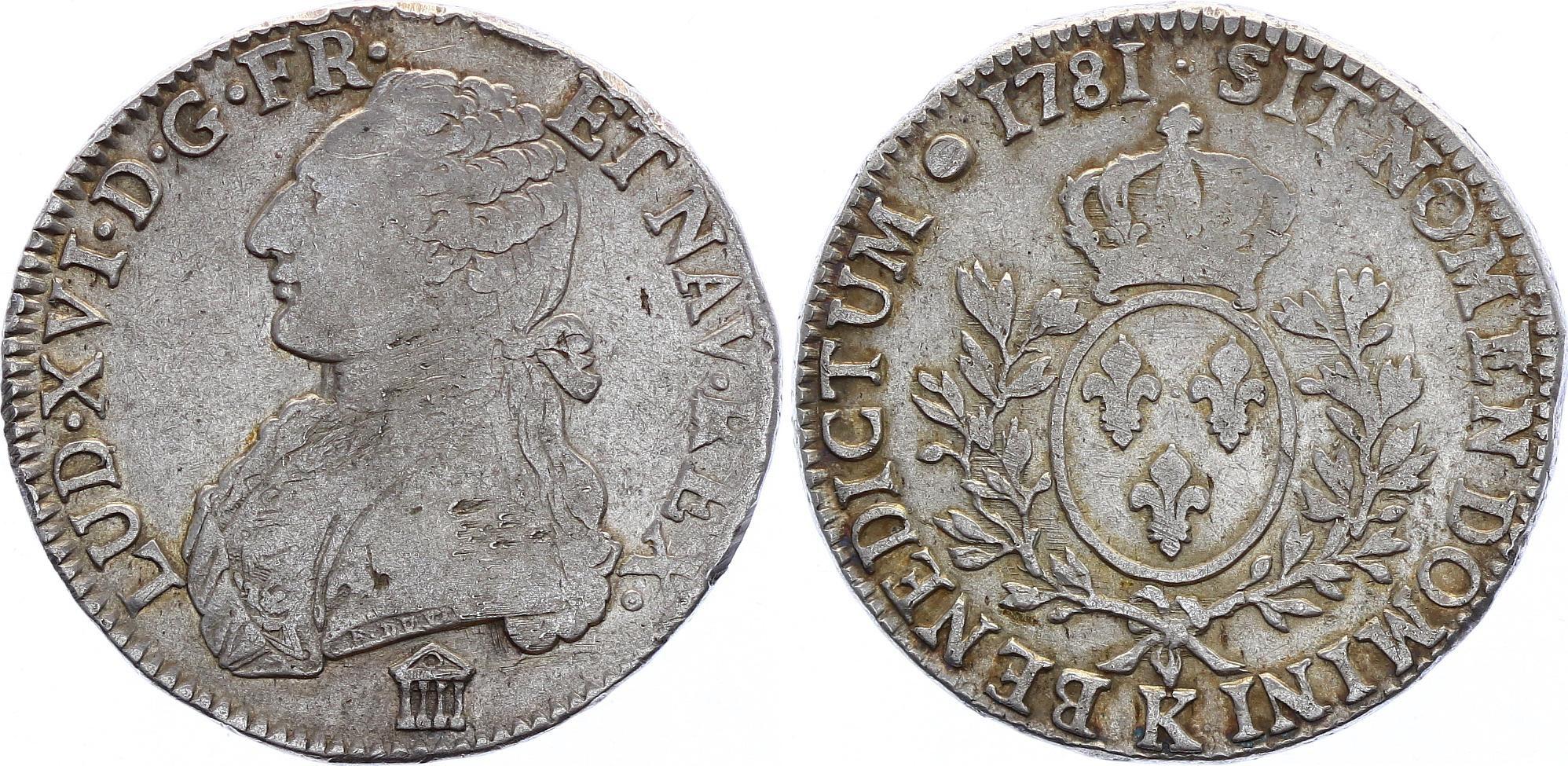France Ecu Louis XVI with sprays - 1781 K Bordeaux