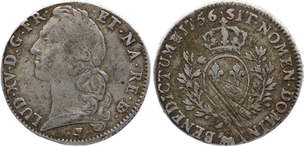 France Ecu of Béarn - Louis XV - Arms of France with sprays - 1756 Pau - F to VF