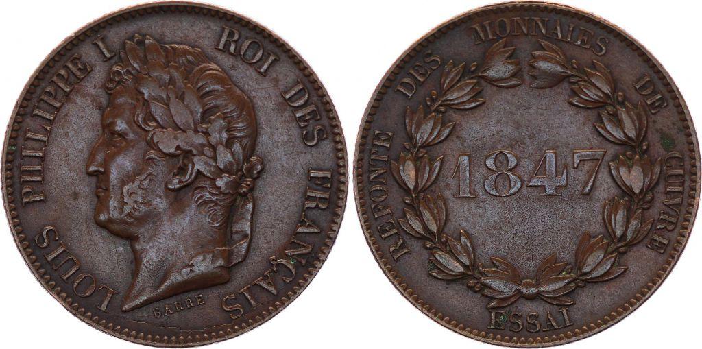 France Essai de  Module  5 Centimes  Louis Philippe I - 1847