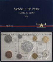 France FDC.1974 Monnaie de Paris Uncirculated set 1974 FDC.1974 1c double edge
