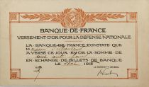 France Gold Payment Receipt for National Defence 1915 - VF+