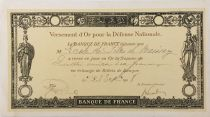 France Gold Payment Receipt for National Defence 1918 - Haute-Marne - Baissey - VF
