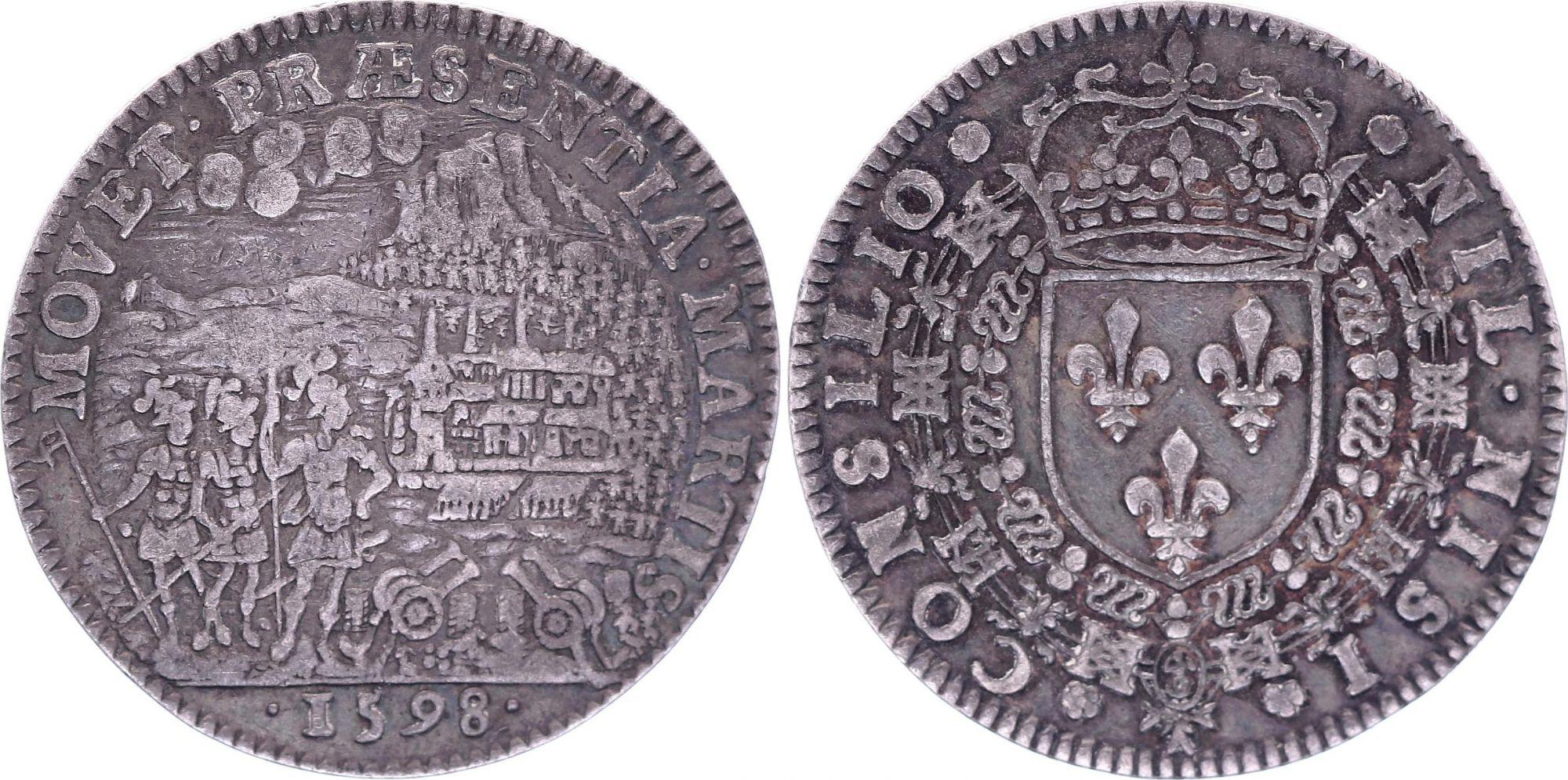France Henri IV Conseil du Roi  - 1598 - Rédition d\'Amiens pour Henri IV - Argent