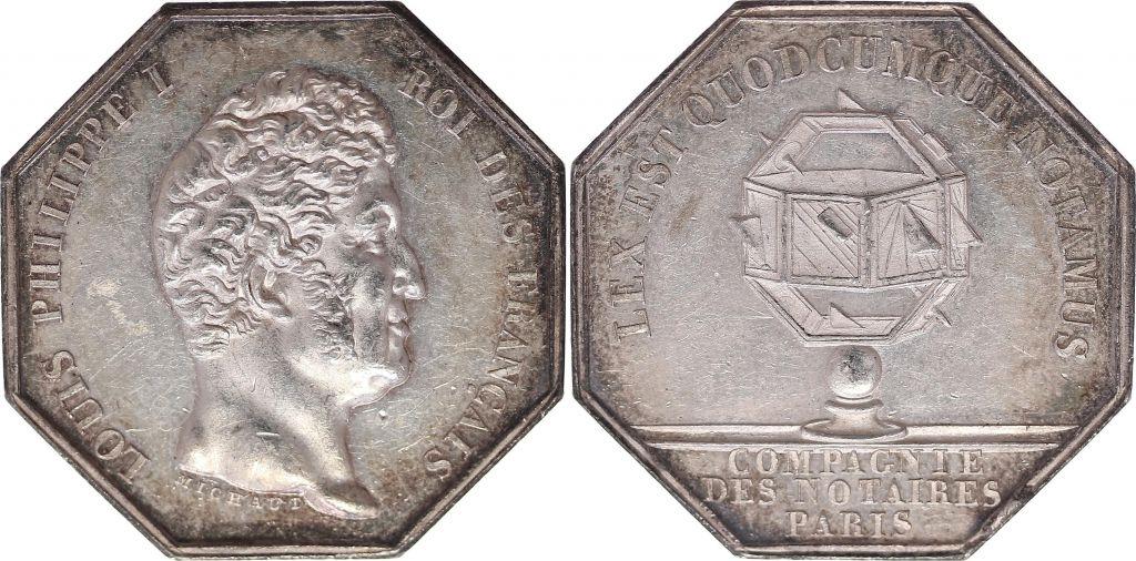 France Jeton  de notaire  - Louis Philippe I - Compagnie de Paris - Proue