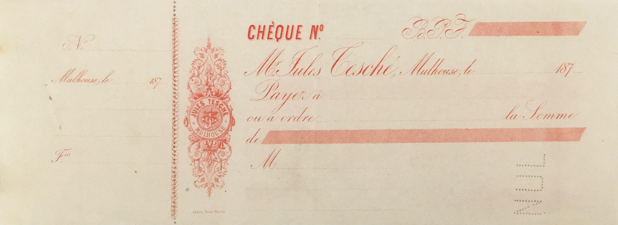 France Jules Tesché - Planche de 3 chèques vierges - Mulhouse - SUP