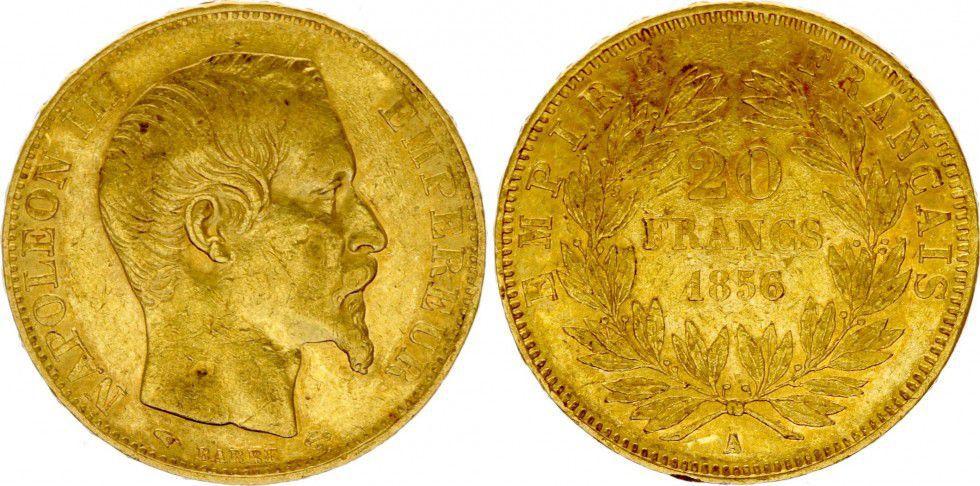 Coin France 20 Francs, Napoleon III Empereur 1856 A Paris