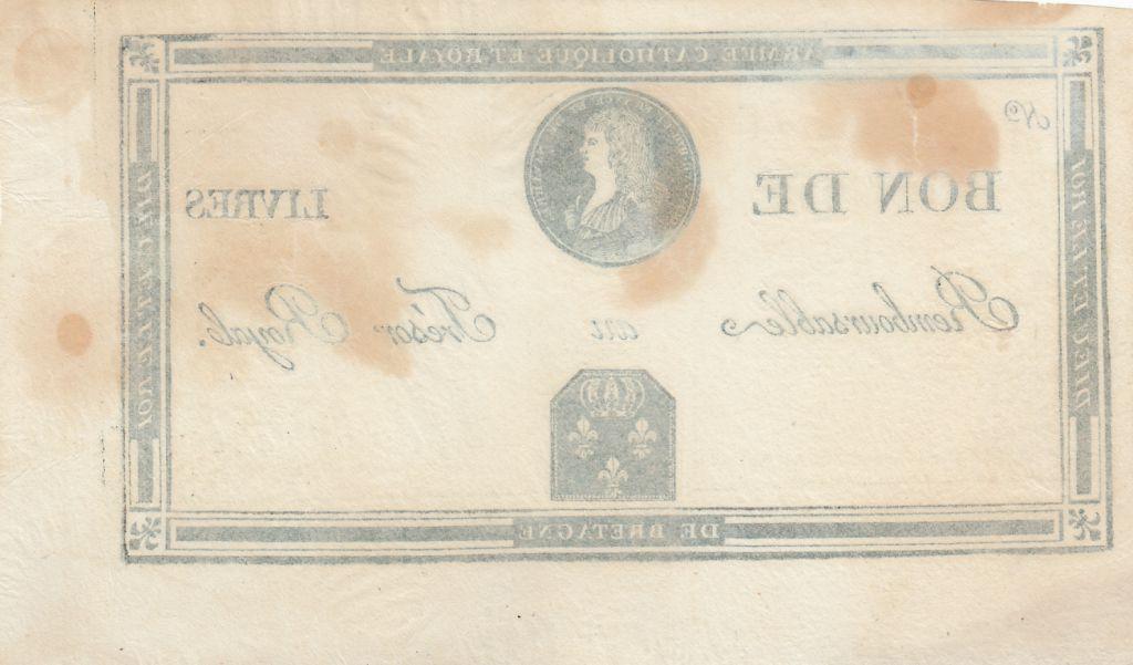 France Livres Bon à l\'effigie de LOUIS XVII - non émis - 1794