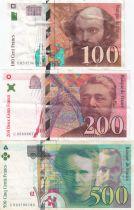 France Lot 3 Notes  : 100 Francs Cézanne - 200 Francs Eiffel - 500 Francs P M Curie - 1995 to 200 - VF