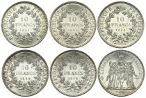 France Lot 5 x 10 Francs Hercule - Argent 1965 à 1972