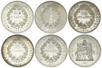France Lot 5 x 50 Francs Hercule - Argent 1974 à 1979