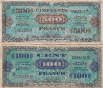 France Lot 500 Francs AMC (Flag) + 100 Francs AMC (Flag)- Serial 2 -  VF