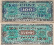 France Lot 500 Francs Drapeau  + 100 Francs Impr. américaine (Drapeau) - Sans Série - TTB