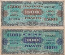France Lot 500 Francs Drapeau  + 100 Francs Impr. américaine (Drapeau) - Série 2 - TTB