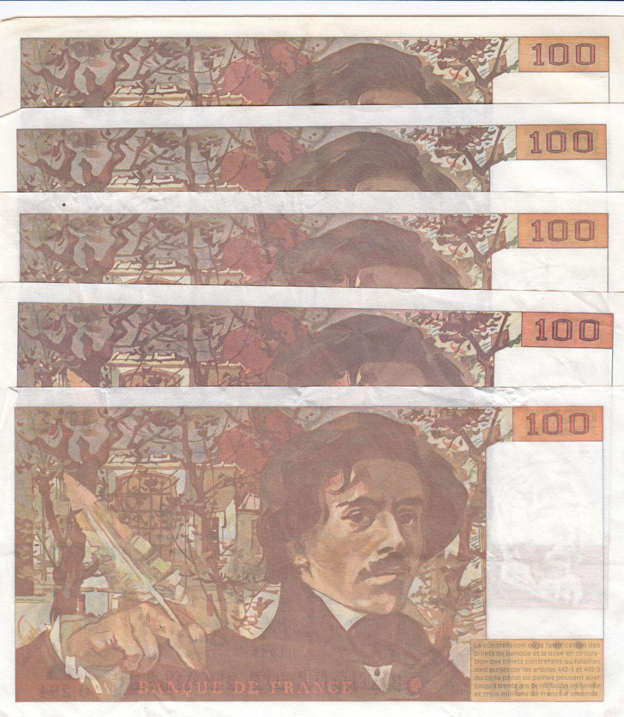 France Lot de 5 x 100 Francs Delacroix - années 1978 à 1995