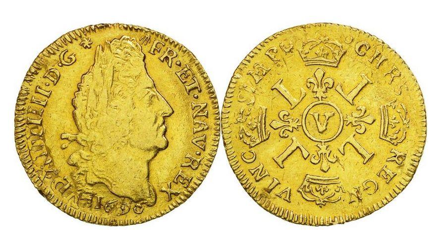 France Louis d\'or, Louis XIV (1643-1715) aux 4 L - Troyes 1696